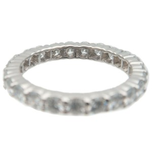 Auth HARRY WINSTON Round Prong-Set Full Eternity Diamond Ring Platinum Used F/S