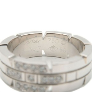 Authentic Cartier Tank Francaise Diamond Ring 750 White Gold #50 US5.5 Used F/S