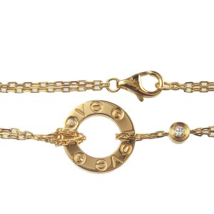 Authentic Cartier Love Circle 2P Diamond Bracelet K18 750 Yellow Gold Used F/S