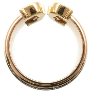 Authentic Cartier 2C Ring LM Three Color K18 YG/WG/PG #54 US7 EU54.5 Used F/S