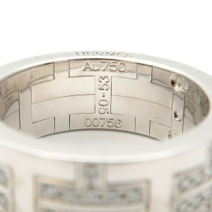 Authentic HERMES Kilim Ring Pave Diamond K18WG White Gold #53 US6.5-7 Used F/S