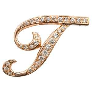 Authentic NOMBRE ALPHA Initial T Diamond Pendant Top 0.42ct Rose Gold Used F/S