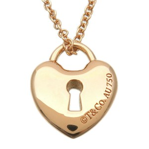 Authentic Tiffany&Co. Mini Heart Rock Necklace K18 750 Rose Gold US Used F/S