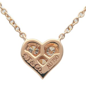 Authentic Tiffany&Co. Sentimental Heart 3P Diamond Necklace Rose Gold Used F/S