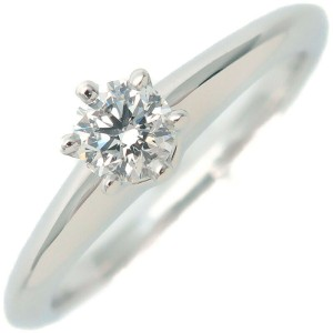 Authentic Tiffany&Co. Solitaire Diamond Ring 0.19ct Platinum US4 EU47 Used F/S