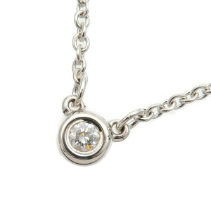 Authentic Tiffany&Co. By the Yard 1P Diamond Necklace 0.03ct 925 Silver Used F/S