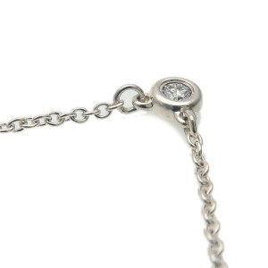 Authentic Tiffany&Co. By the Yard 1P Diamond Necklace 0.03ct Silver Used F/S