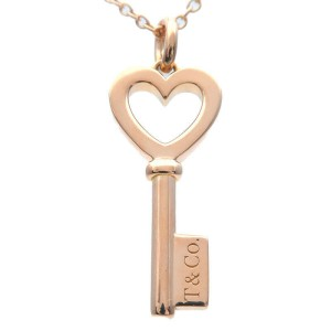 Authentic Tiffany&Co. Heart Key Mini Necklace K18 750 Rose Gold Used F/S