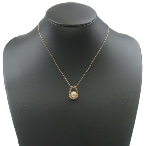 Authentic TASAKI Golden Pearl Diamond Necklace 0.10ct K18 Yellow Gold Used F/S