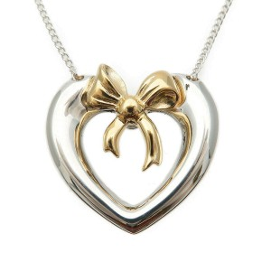 Authentic Tiffany&Co. Heart Ribbon Necklace Silver 925 K18 Yellow Gold Used F/S