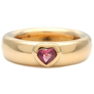 Authentic Tiffany&Co. Friendship Ring Pink Tourmaline Yellow Gold US5 Used F/S