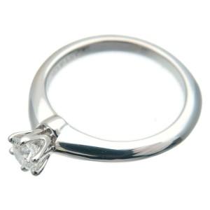 Authentic Tiffany&Co. Solitaire Diamond Ring 0.19ct Platinum US3.5 EU45 Used F/S