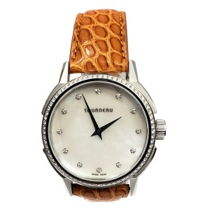 Tourneau TNY Roventa TNY350707 Ladies Diamond MOP Steel 35MM Quartz Watch