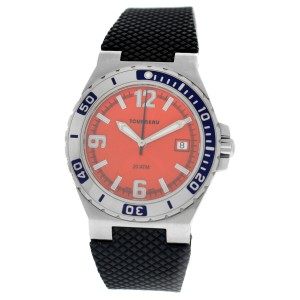 Tourneau Men's Stainless Steel 40MM Date Orange Dial Sport Automatic Watch