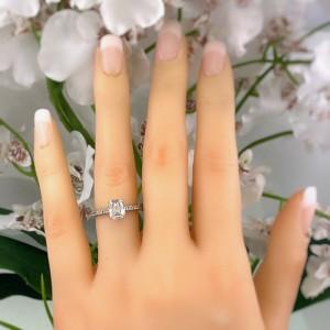 Henri Daussi 1.92 tcw Cushion Diamond Three Sided Solitaire Engagement Ring 14k