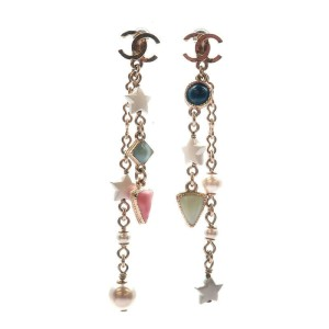 Auth CHANEL CoCo Mark Drop Earrings Imitation Pearl Champagne Gold A19P Used F/S