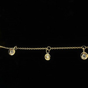 Roberto Coin 7 Station Dangling Diamond 18K Yellow Gold Bracelet with Box