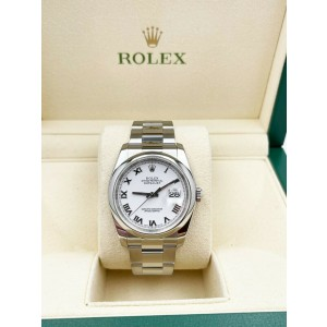 Rolex Datejust 116200 White Roman Dial Stainless Steel Watch with Box
