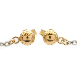 Authentic Louis Vuitton Logomania Drop Earrings Gold Silver M68076 Used F/S
