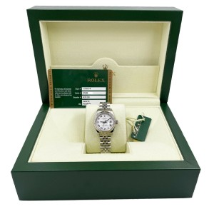Rolex Ladies Datejust 179174 White Roman Dial Stainless Steel Box Papers 2011