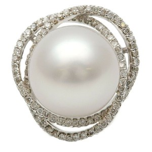 Authentic Pearl Diamond Ring 0.65ct K18 White Gold US7-7.5 HK16 EU55.5 Used F/S