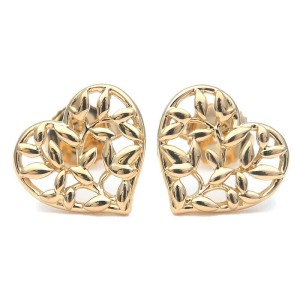 Authentic Tiffany&Co. Olive Leaf Heart Earrings K18 750 Yellow Gold Used F/S