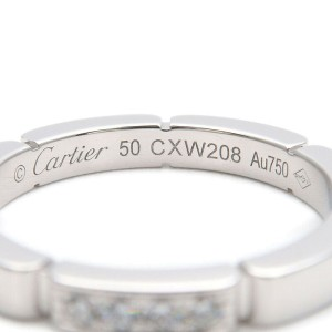 Auth Cartier maillon Panthère 4P Diamond Ring White Gold #50 US5.5 Used F/S