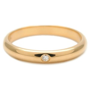 Authentic Cartier Wedding Ring 1P Diamond Yellow Gold #48 US4.5 EU48 Used F/S