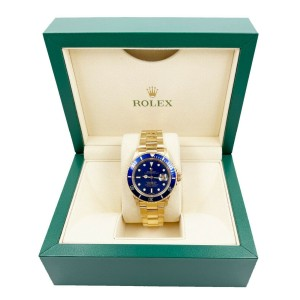 Rolex Submariner 16618 Blue Dial 18K Yellow Gold Excellent Condition