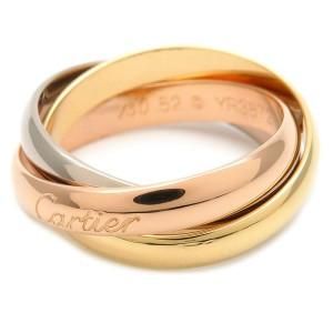 Authentic Cartier Trinity Ring K18 YG/WG/PG #52 US5.5-6 HK12.5 EU51.5 Used F/S