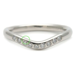 Authentic Tiffany&Co. Curved Band Ring 9P Diamond Platinum US4 EU47 Used F/S