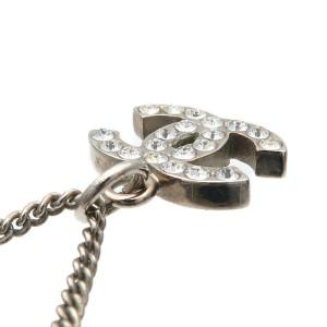 Authentic CHANEL Coco Mark Rhinestone Necklace Silver B11V Used F/S