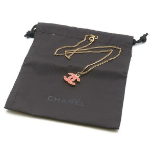 Authentic CHANEL CoCo Mark Necklace Pink Champagne Gold 04A Used F/S