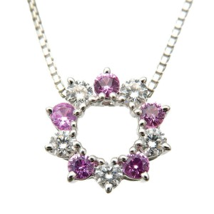 Authentic TASAKI Diamond Pink Sapphire Necklace 0.30ct K18 White Gold Used F/S