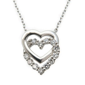 Authentic VENDOME AOYAMA Heart Diamond Necklace 0.26ct 950 850 Platinum Used F/S