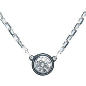 Auth Cartier Diamants Légers Necklace SM 1P Diamond 0.09ct White Gold Used F/S