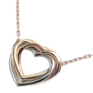 Auth Cartier Trinity Heart Necklace Yellow Gold White Gold Rose Gold Used F/S