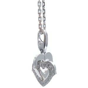 Authentic Cartier Double Heart Diamond Necklace K18 750WG White Gold Used F/S