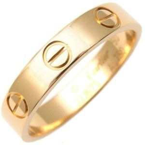 Authentic Cartier Mini Love Ring Yellow Gold #50 US5-5.5 HK11.5 EU50 Used F/S
