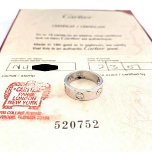 CARTIER 3 Diamonds LOVE Ring 18kt White Gold SZ 51