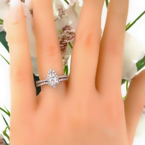 Marquise Diamond 1.46 tcw Halo Design Engagement Ring and Diamond Band Set 14K