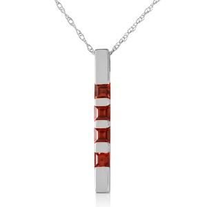 0.35 CTW 14K Solid White Gold Necklace Bar Natural Garnet