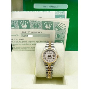 Rolex Ladies Datejust 69173 White Pyramid Dial 18K Yellow Gold Steel Box Papers