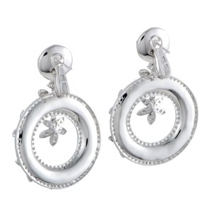 Odelia 18K White Gold with 7.75ct Diamond Floral Dangle Earrings