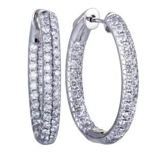 Odelia 18K White Gold with 2.00ct Diamond Hoop Earrings