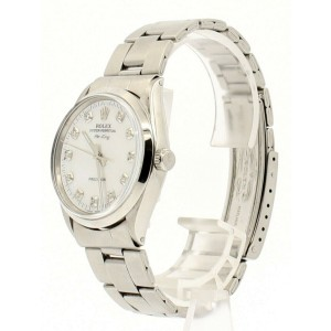 ROLEX Oyster Perpetual AIR KING Steel White MOP Dial Diamond Watch Ref: 5500