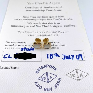 Van Cleef & Arpels 18kt Yellow Gold Mother of Pearl Pure Alhambra Earstuds COA