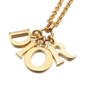 Authentic Christian Dior DIOR Logo Necklace Pendant