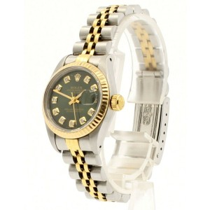 Ladies ROLEX Oyster Perpetual Datejust 26mm SHINY GREEN Diamond Dial  Watch