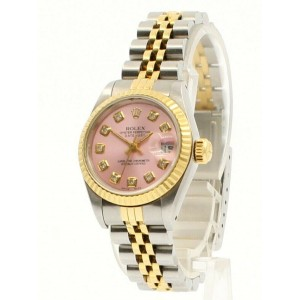 Ladies ROLEX Oyster Perpetual Datejust 26mm SHINY PINK Diamond Dial  Watch